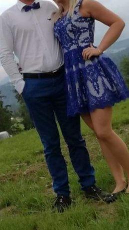 Wyjątkowa na wesele bicotone rozkloszowana chabrowa niebieska biała