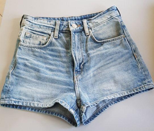 H&M DENIM szorty spodenki jeans HIGH WAIST SHORTS wysoki stan XXS/32