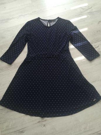 Sukienka granatowa w kropki MOHITO