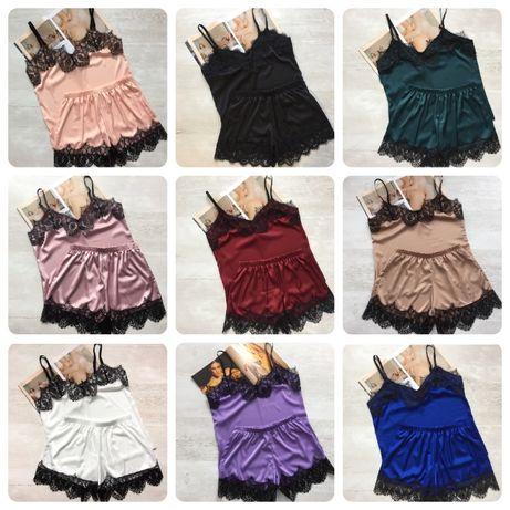 Женская шелковая пижама майка и шорты, ОПТ , Дропшипинг