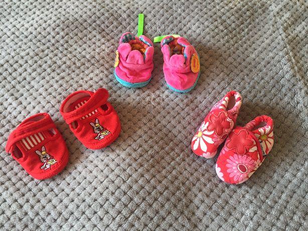 Buty, buciki, kapcie niechodki niemowlęce, dla dziewczynki