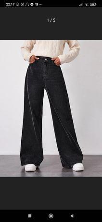 szerokie spodnie dżinsy shein czarne