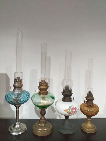 Coleção de candeeiros a petróleo antigos raros