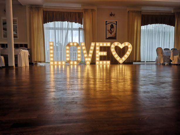 Napis LOVE oraz SERCE wynajem wys. 120cm