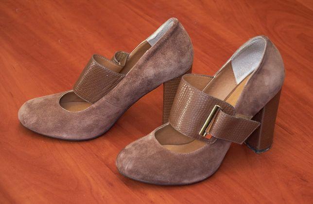 Туфли замшевые женские на каблуке