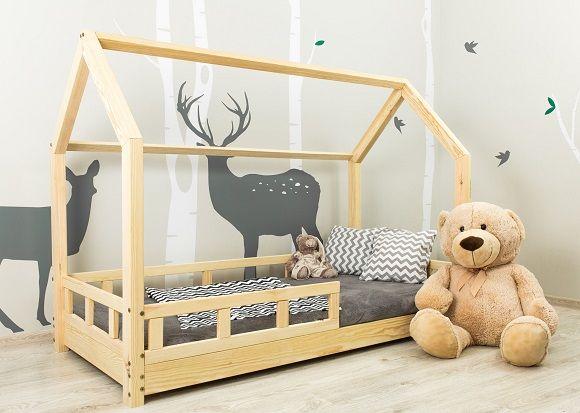 Nowe łóżko domek skandynawski, dziecięce LEO + Barierki Naturalne