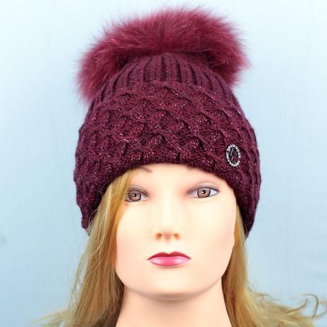 Модная женская шапка с круглым мехом