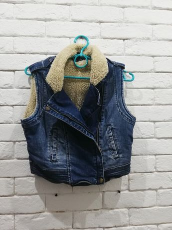 Ramoneska Xs /S kamizelka bezrękawnik ocieplany jeansowa