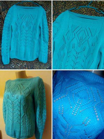 Свитер вязка/ выбитый рисунок.Голубой тёплый свитер.Джемпер.