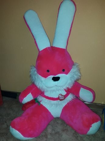 Большая мягкая игрушка заяц с сердцем