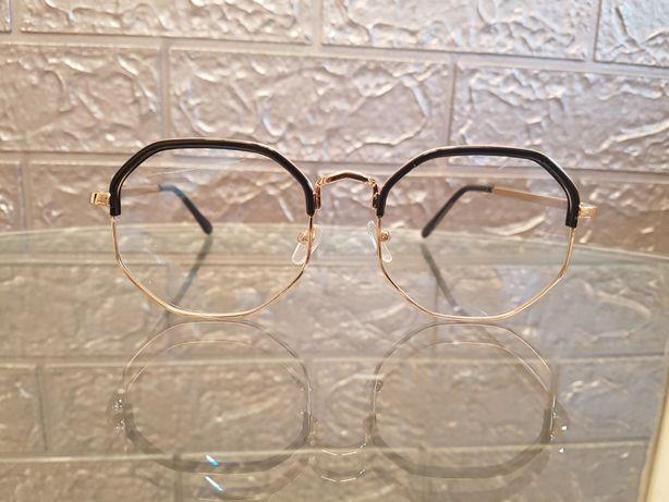 Okulary czarno złote oprawki uniwersalne unisex nowe