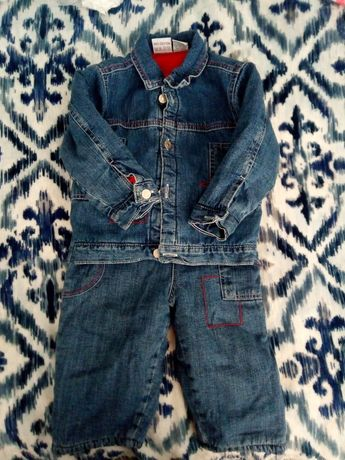 Утеплений джинсовий костюм на хлопчика