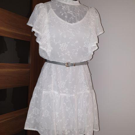 Biała sukienka Haftowana Nowa