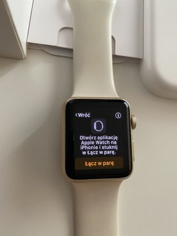 Apple Watch 7000 Series Gold 38mm, nowa bateria, komplet