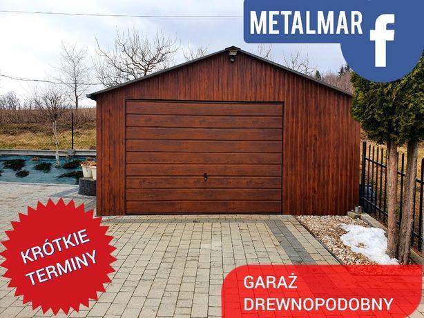 Garaż blaszak drewnopodobny 5,5x4 dwuspadowy brama uchylna, Krosno