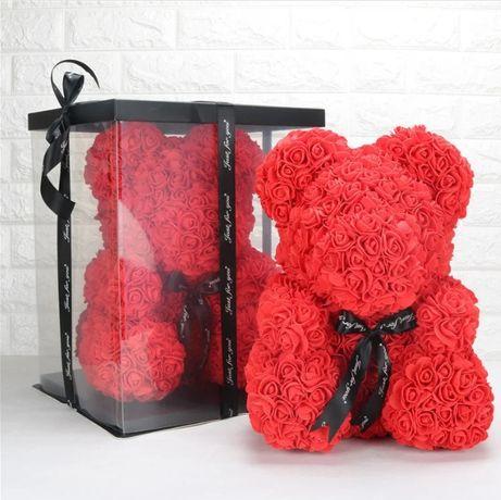 Мишка из 3D роз 25см в красивой подарочной упаковке мишка Тедди из роз