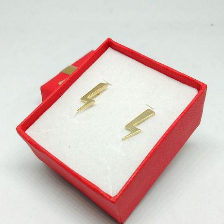Złote kolczyki błyskawice / złoto 585