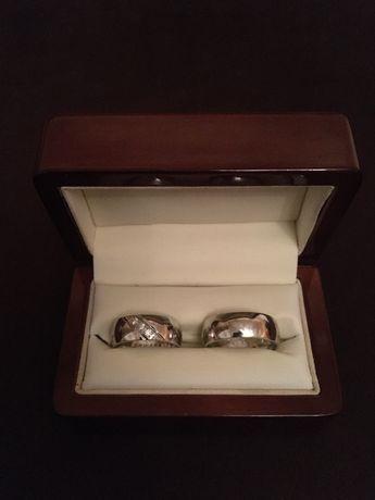 Obrączki ślubne, białe złoto + diamenty