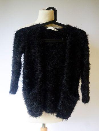 Sweter Włochaty Narzutka 110 116 cm 4 6 H&M Włochacz Czarny Zara Kids