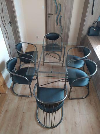Stół szklany + 6 krzeseł. Metalowe, chromowane stelaże
