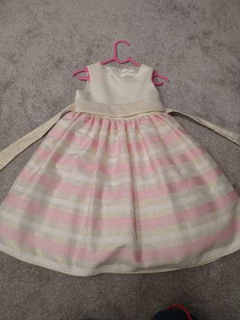 Balowa elegancka wizytowa sukienka błyszcząca różowa kremowa 116 122