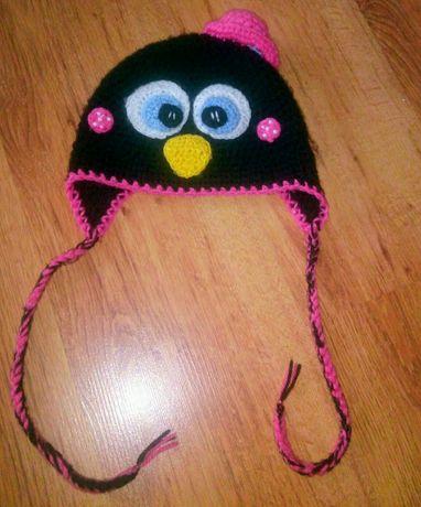 Шапочка, вязанная шапка ручной работы, пингвин на 1,5, 2, 3, 4 года