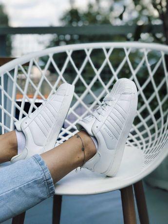 Тренд!! Кеди Адідас Суперстар чисто білі чорні Adidas Superstar