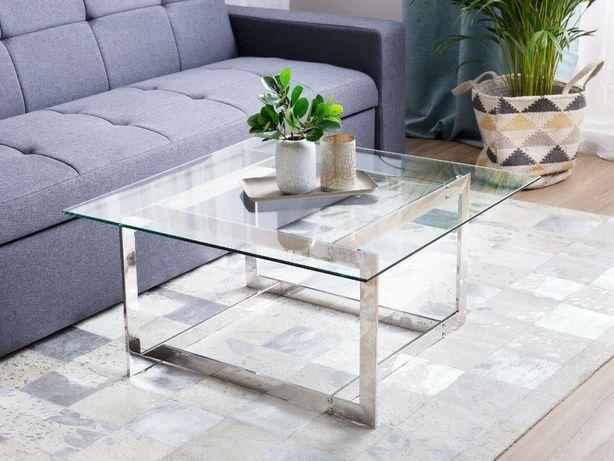 STOLIK kawowy stolik szklany szkło hartowane salon srebrna rama OKAZJA