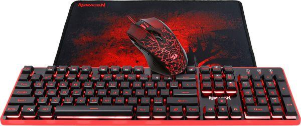 Проводной игровой набор клавиатура + мышь + коврик Redragon S107