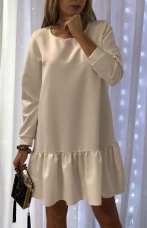 Sukienka e biała  materiał porządny nowa z metka wyjściowa ślub wesele