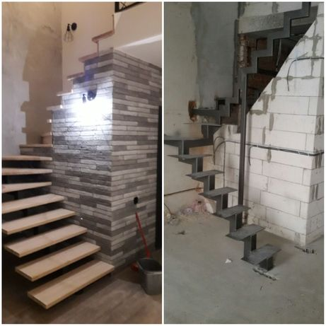 Лестницы (сходи) на металлокаркасе.Монтаж ступеней и перильной части.