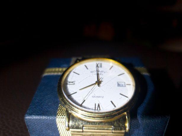 Zegarek ROTARY męski wizytowy pozłacany 20 k. złotem z monogramem