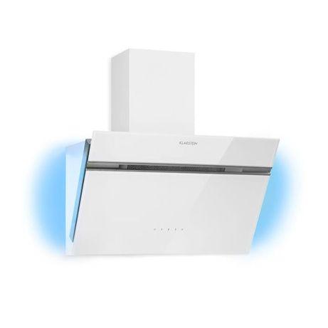 Okap kuchenny, 60cm, oświetlenie ambientowe, szklany front, biały