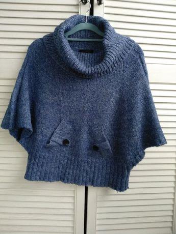 Sweter ciepły narzutka nietoperz niebieski z golfem