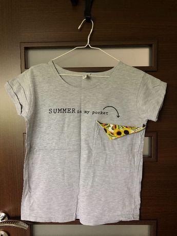 Szara koszulka z kieszonką z kwiatkami słoneczniki lato YEAHBUNNY