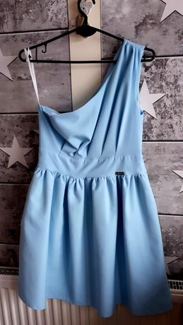 Sukienka niebieska błękitna na jedno ramię PIĘKNA S 36