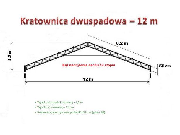 Kratownica 12 m wiata garaż magazyn hala konstrukcja ocynk modułowa
