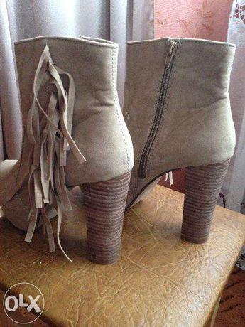Замшевые батильоны ботинки сапоги сапожки