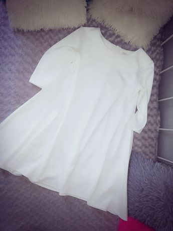 Sukienka trapez kieszenie ecru biel L XL XXL