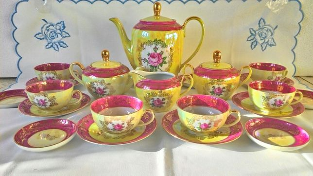 Чайный сервиз на 6 персон[Fortuna Eisenberg, Германия, роза, перламутр