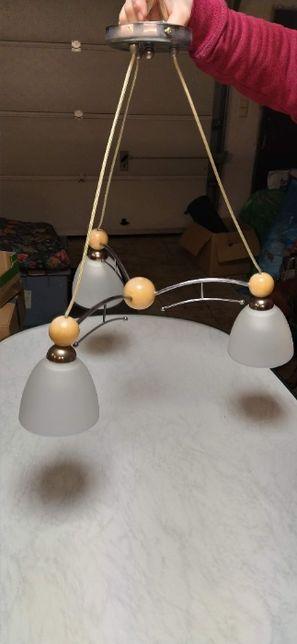 Lampa na 3 żarówki stal/drewno