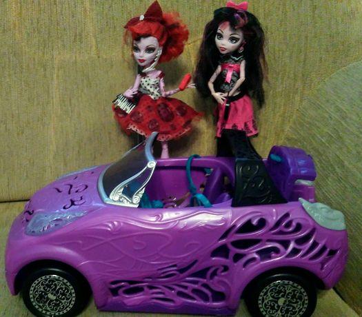 Monster High samochod kabriolet + dwie lalki i akcesoria