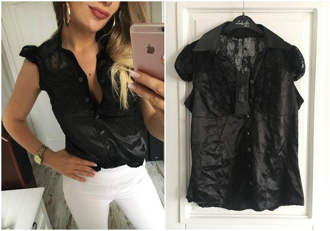 Bluzka czarna koronka wyprzedaż nowa wysyłka S 36 koszula elegancka
