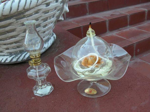 lampy naftowe szkło artystyczne 2 sztuki