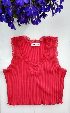 FB sister nowy Crop top czerwony prazkowany