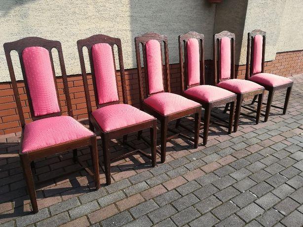krzesła dębowe solidne wygodne drewniane 6 szt stół komoda szafka