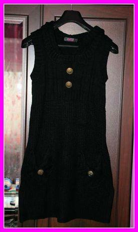 Czarna sukienka/tunika dzianinowa, rozmiar uniwersalny, Długi sweter