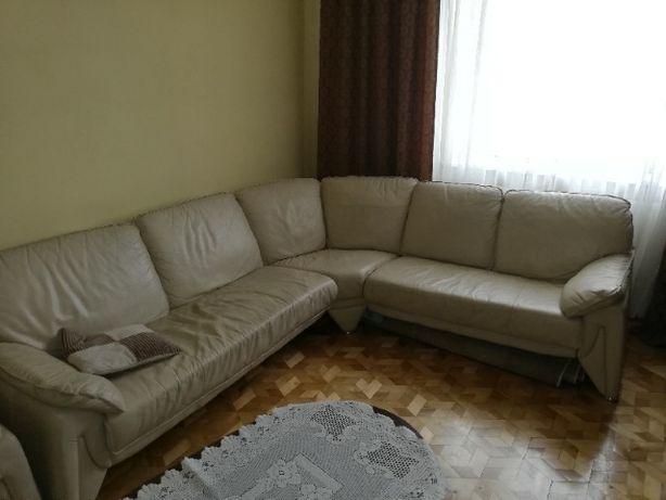meble duży narożnik plus fotel skóra rogówka kolor: biały krem