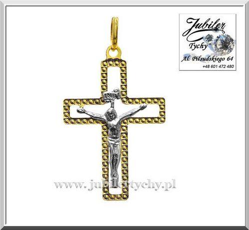 Złoty krzyżyk z wizerunkiem Jezusa zawieszka białe złoto Jezus Au 585