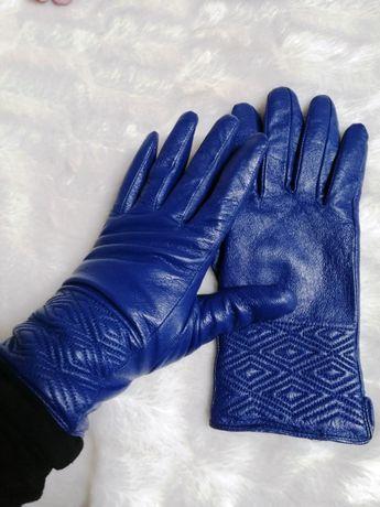rękawiczki skórka eko niebieskie